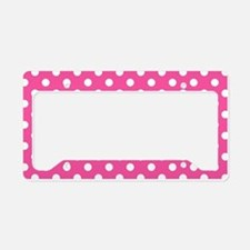 Pink and White Polka Dot License Plate Holder