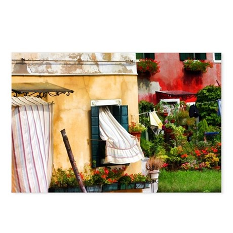 Burano Curtains Postcards (Package of 8)