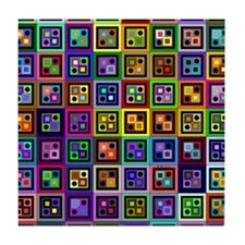 Boxes and Dots Tile Coaster