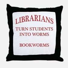 Librarians Bookworms Red Letters Throw Pillow