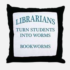 Librarians Bookworms Blue Letters Throw Pillow