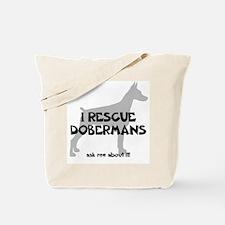I RESCUE Dobermans Tote Bag