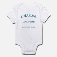 Librarians Love Worms Blue Letters Infant Bodysuit