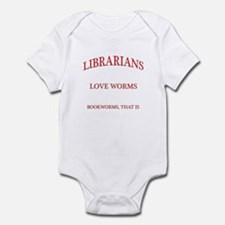 Librarians Love Worms Red Letters Infant Bodysuit
