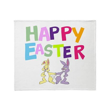 Cute Bunny Happy Easter 2012 Throw Blanket