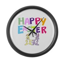 Cute Bunny Happy Easter 2012 Large Wall Clock