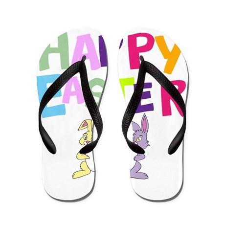 Cute Bunny Happy Easter 2012 Flip Flops