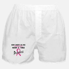 Kicking Ass Twice Breast Cancer Boxer Shorts