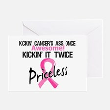 Kicking Ass Twice Breast Cancer Greeting Card