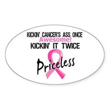 Kicking Ass Twice Breast Cancer Decal