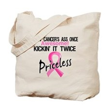 Kicking Ass Twice Breast Cancer Tote Bag
