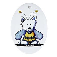 Buzzy Bee Westie Ornament (Oval)