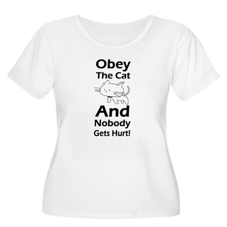 Obey the cat no one gets hurt Women's Plus Size Sc