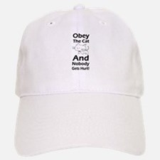 Obey the cat no one gets hurt Baseball Baseball Cap
