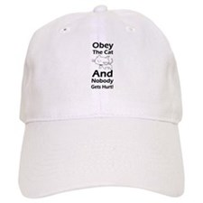 Obey the cat no one gets hurt Baseball Cap