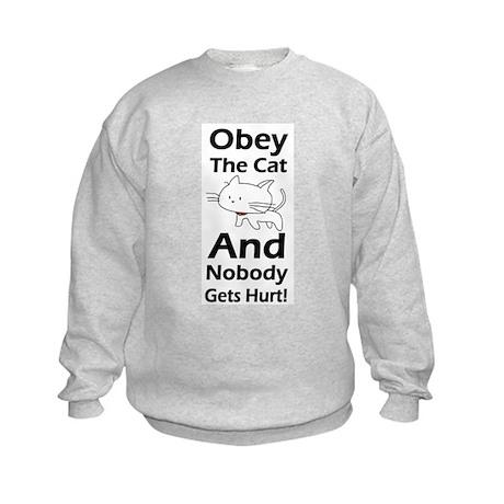 Obey the cat no one gets hurt Kids Sweatshirt