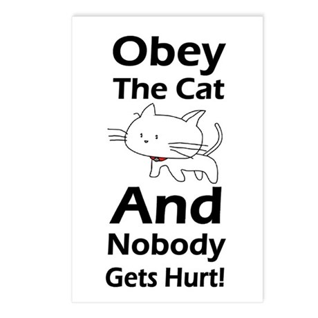 Obey the cat no one gets hurt Postcards (Package o