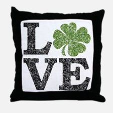 LOVE with a shamrock Throw Pillow