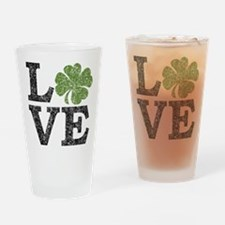 LOVE with a shamrock Drinking Glass