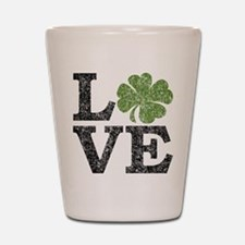 LOVE with a shamrock Shot Glass