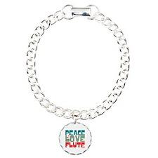 Peace Love Flute Charm Bracelet, One Charm