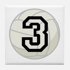Volleyball Player Number 3 Tile Coaster
