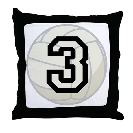 Volleyball Player Number 3 Throw Pillow