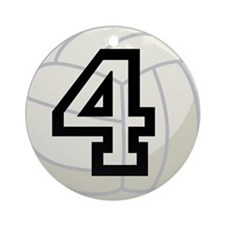Volleyball Player Number 4 Ornament (Round)