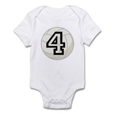 Volleyball Player Number 4 Infant Bodysuit