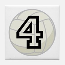 Volleyball Player Number 4 Tile Coaster