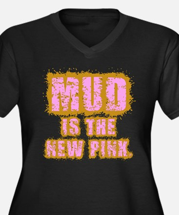 Mud, the new pink Women's Plus Size V-Neck Dark T-