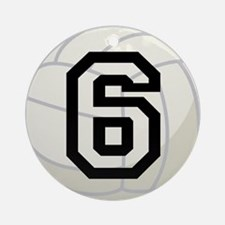 Volleyball Player Number 6 Ornament (Round)
