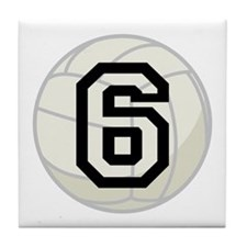 Volleyball Player Number 6 Tile Coaster