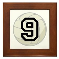 Volleyball Player Number 9 Framed Tile