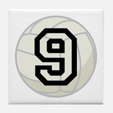 Volleyball Player Number 9 Tile Coaster