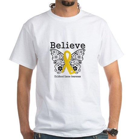 Believe Childhood Cancer White T-Shirt