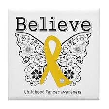 Believe Childhood Cancer Tile Coaster