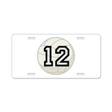 Volleyball Player Number 12 Aluminum License Plate