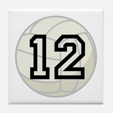 Volleyball Player Number 12 Tile Coaster
