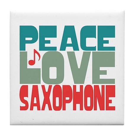 Peace Love Saxophone Tile Coaster