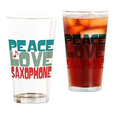 Peace Love Saxophone Drinking Glass