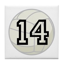Volleyball Player Number 14 Tile Coaster