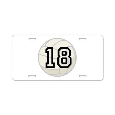 Volleyball Player Number 18 Aluminum License Plate