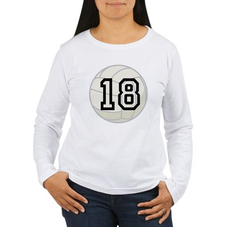 Volleyball Player Number 18 Women's Long Sleeve T-