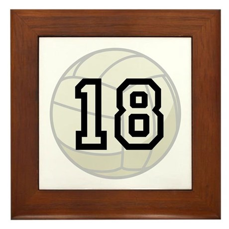 Volleyball Player Number 18 Framed Tile