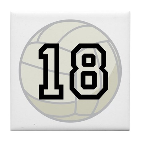Volleyball Player Number 18 Tile Coaster