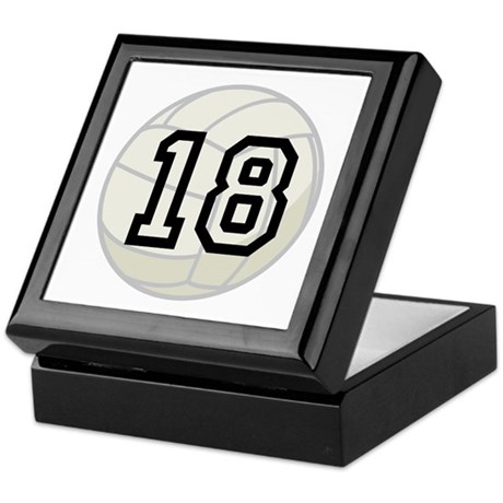 Volleyball Player Number 18 Keepsake Box