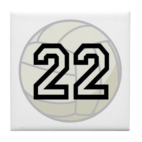Volleyball Player Number 22 Tile Coaster