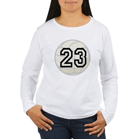 Volleyball Player Number 23 Women's Long Sleeve T-