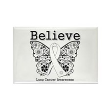 Believe Lung Cancer Rectangle Magnet